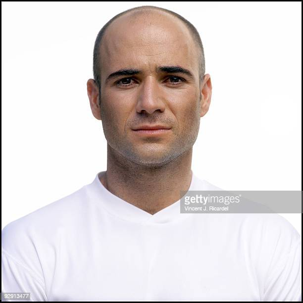 Andre Agassi tennis player poses at a portrait session for Twinlab in Phoenix AZ in 2001