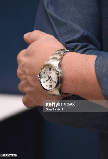 Andre Agassi watch detail attends the launch of Longines Master Collection Watch at Macy's Herald Square on November 7 2017 in New York City