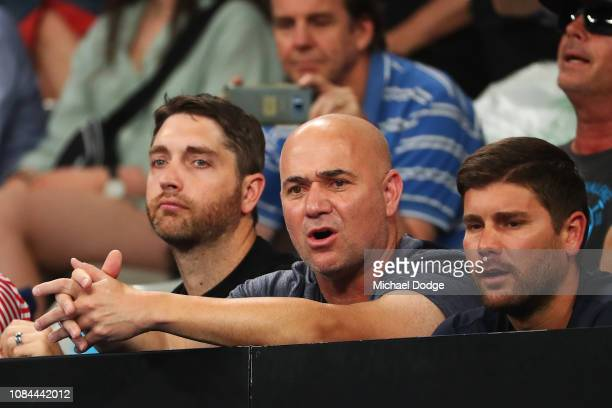 Andre Agassi watches the third round match between Grigor Dimitrov of Bulgaria and Thomas Fabbiano of Italy during day five of the 2019 Australian...