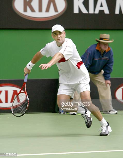 Andre Agassi wins his fourth round match 76 63 64 over Paradorn Srichaphan