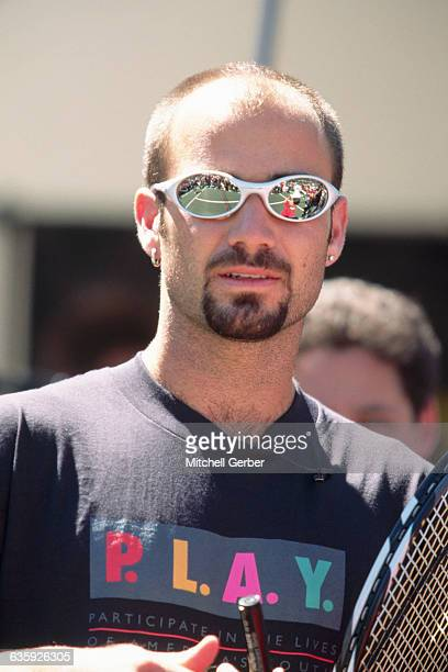 Andre Agassi with Court Reflection in Sunglasses