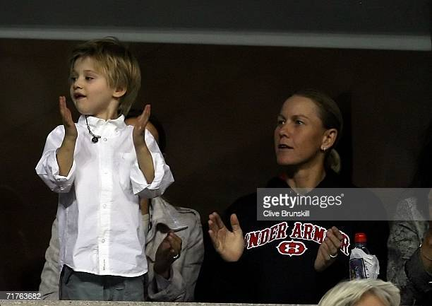 Andre Agassi's son Jaden cheers with Rennae Stubbs of Australia during the match between Andre Agassi and Marcos Baghdatis of Cyprus during the US...