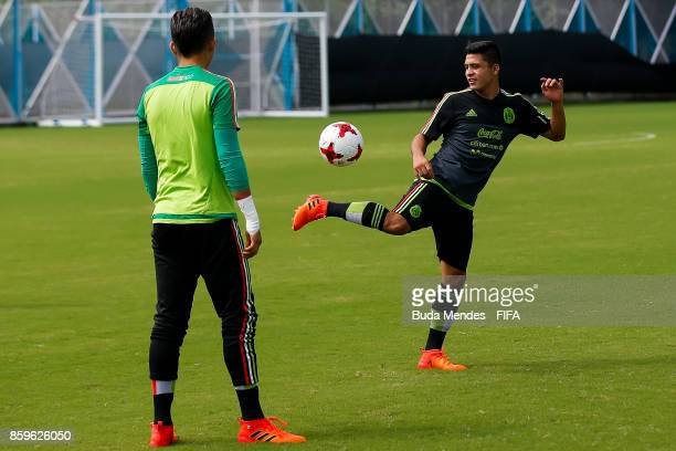 Andre Alcaraz and Carlos Guerrero of Mexico in action during their training session ahead of the FIFA U17 World Cup India 2017 tournament at Kolkata...