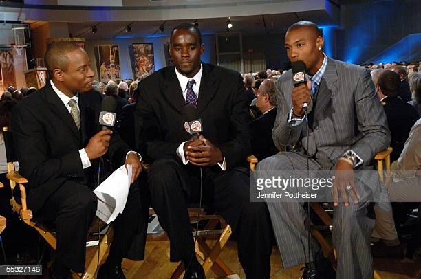 Andre Aldridge of NBA TV interviews Emeka Okafor of the Charlotte Bobcats and Caron Butler of the Washington Wizards at the Naismith Memorial...