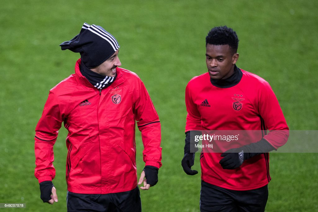 Andre Almeida (L) and Nelson Semedo of Benfica warm up during the training prior the UEFA Champions League Round of 16 second leg match between Borussia Dortmund and SL Benfica at Signal Iduna Park on March 7, 2017 in Dortmund, Germany.