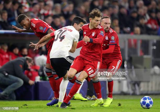 Andre Almeida of Benfica battles with Jerome Boateng Leon Goretzka and Franck Ribery of Bayern Munich during the UEFA Champions League Group E match...