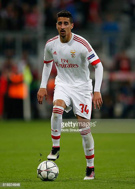 Andre Almeida of Benfica runs with the ball during the UEFA Champions League quarter final first leg match between FC Bayern Muenchen and SL Benfica...