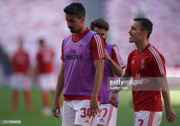 Andre Almeida of SL Benfica and Alex Grimaldo of SL Benfica in action during warm up before the start of the Liga NOS match between SL Benfica and CD...