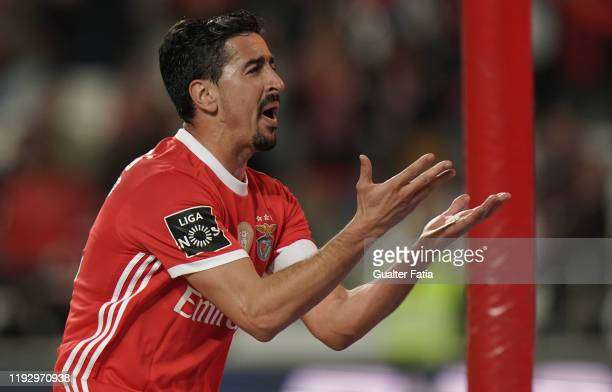 Andre Almeida of SL Benfica celebrates after scoring a goal during the Liga NOS match between SL Benfica and CD Aves at Estadio da Luz on January 10...