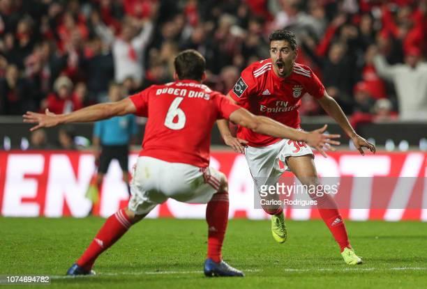 Andre Almeida of SL Benfica celebrates scoring SL Benfica sixth goal during the Liga NOS match between SL Benfica and SC Braga at Estadio da Luz on...