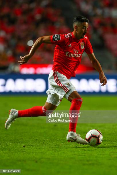 Andre Almeida of SL Benfica drives the ball during the Liga NOS match between SL Benfica and Vitoria SC at Estadio da Luz on August 10 2018 in Lisbon...