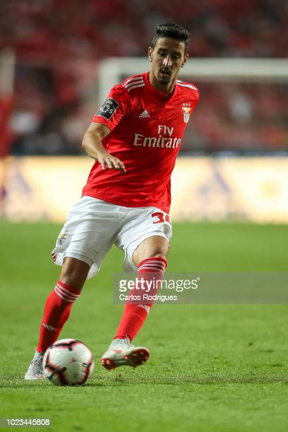 Andre Almeida of SL Benfica during the Liga NOS match between SL Benfica and Sporting CP for the third round of Liga NOS at Estadio da Luz on August...