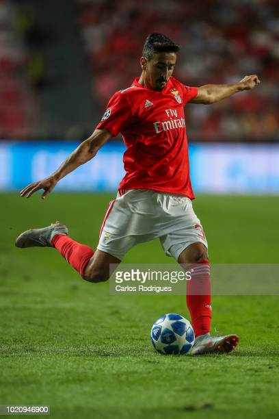 Andre Almeida of SL Benfica during the match between SL Benfica and PAOK for the UEFA Champions League Play Off at Estadio da Luz on August 21 2018...