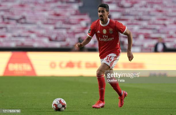 Andre Almeida of SL Benfica in action during the Liga NOS match between SL Benfica and CD Tondela at Estadio da Luz on June 4 2020 in Lisbon Portugal