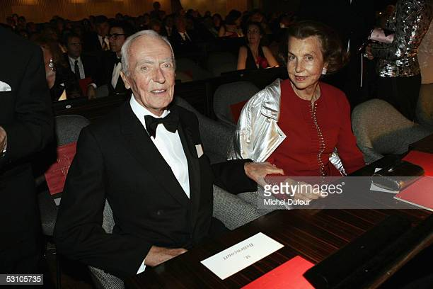 Andre and Liliane Bettencourt attend 'Le Concert de la Paix' held to raise funds for The Weizmann Institute of Science who carry research into...