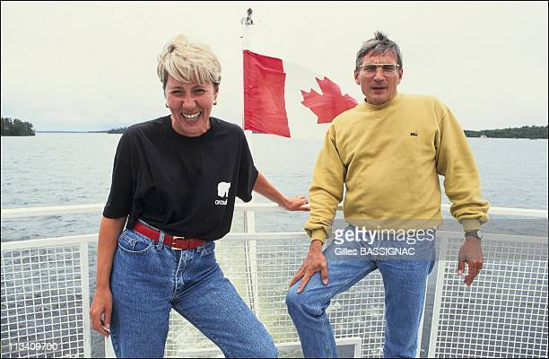 Andre and Sylviane Audoyer contest winners of 'Win a Lake in Ontario' On July 8th 1991 In Canada Sylviane And Andre Audoyer On Kenora Lake Of The...