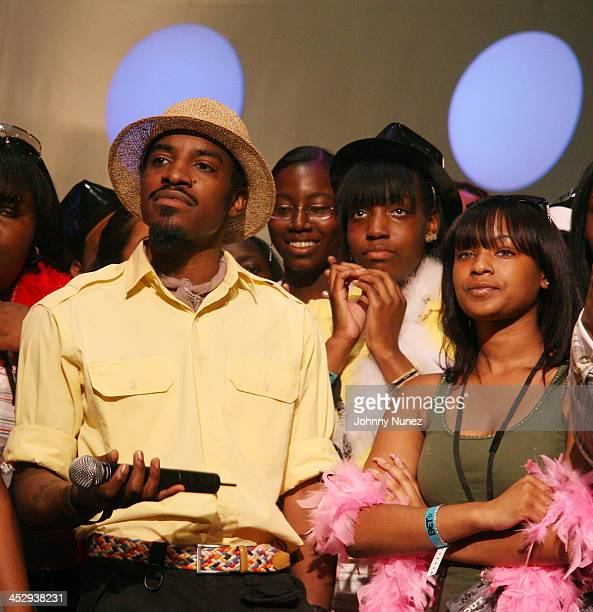 Andre Andre 3000 Benjamin during Outkast Visit BET's 106 and Park August 23 2006 at BET Studios in New York City New York United States