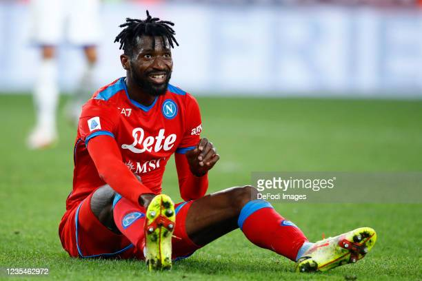 Andre Anguissa of SSC Napoli looks on during the Serie A match between UC Sampdoria and SSC Napoli at Stadio Luigi Ferraris on September 23, 2021 in...