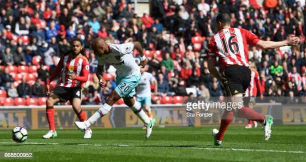 Andre Aye of West Ham United scores his sides first goal during the Premier League match between Sunderland and West Ham United at Stadium of Light...