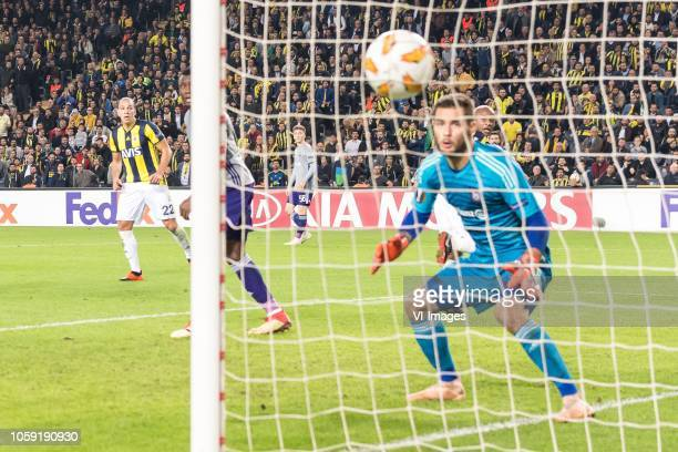 Andre Ayew of Fenerbahce SK scores during the UEFA Europa League group D match between Fenerbahce AS and RSC Anderlecht at the Sukru Saracoglu...