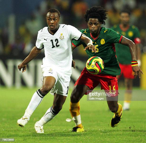 Andre Ayew of Ghana and Alexandre Song Billong of Cameroon in action during of the AFCON semifinal match between Ghana and Cameroon held at the Ohene...