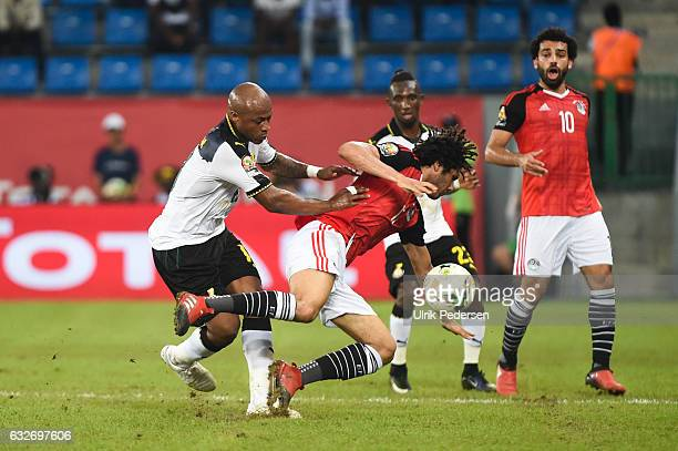 Andre Ayew of Ghana and Mohamed Elneny of Egypt during the African Nations Cup match between Egypt and Ghana on January 25 2017 in Port Gentil Gabon