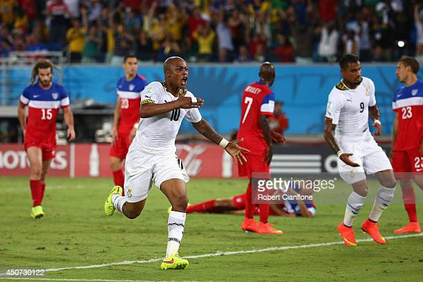 Andre Ayew of Ghana celebrates after scoring his team's first goal during the 2014 FIFA World Cup Brazil Group G match between Ghana and the United...