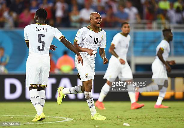 Andre Ayew of Ghana celebrates after scoring the team's first goal during the 2014 FIFA World Cup Brazil Group G match between Ghana and USA at...
