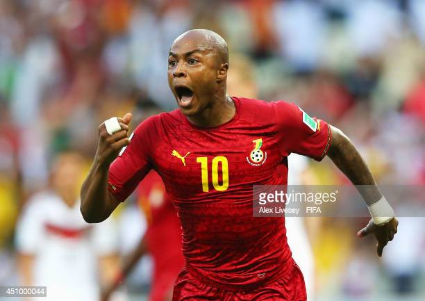 Andre Ayew of Ghana celebrates scoring his team's first goal during the 2014 FIFA World Cup Brazil Group G match between Germany and Ghana at...