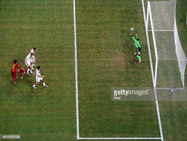 Andre Ayew of Ghana scores his team's first goal on a header past Manuel Neuer of Germany during the 2014 FIFA World Cup Brazil Group G match between...
