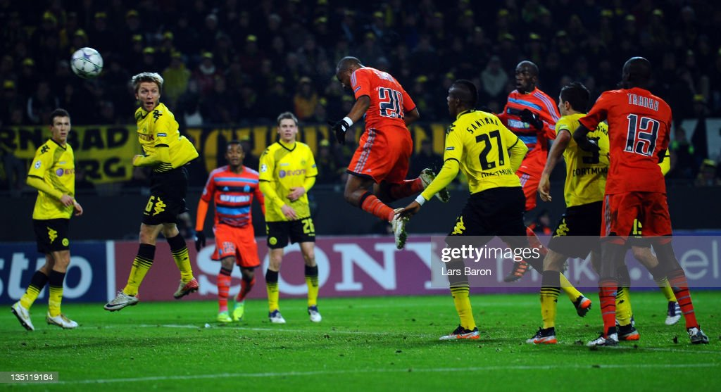 Andre Ayew of Marseille heads his teams second goal during the UEFA Champions League group F match between Borussia Dormtund and Olympique de Marseille at Signal Iduna Park on December 6, 2011 in Dortmund, Germany.