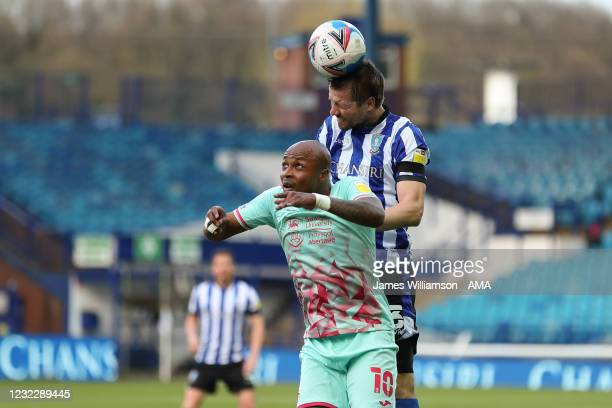Andre Ayew of Swansea City and Julian Borner of Sheffield Wednesday during the Sky Bet Championship match between Sheffield Wednesday and Swansea...