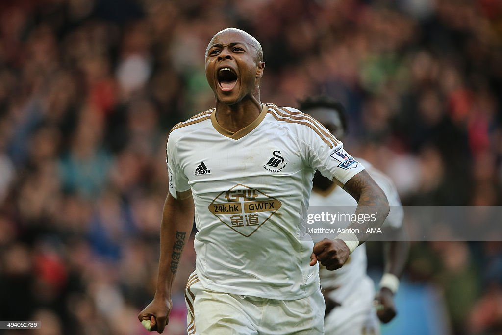 Andre Ayew of Swansea City celebrates after scoring a goal to make it 1-2 during the Barclays Premier League match between Aston Villa and Swansea City at Villa Park on October 24, 2015 in Birmingham, England.