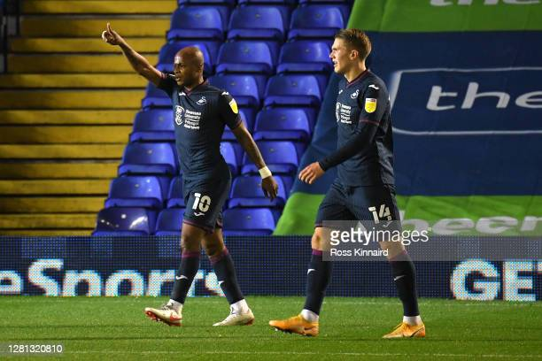 Andre Ayew of Swansea City celebrates after scoring his sides first goal during the Sky Bet Championship match between Coventry City and Swansea City...