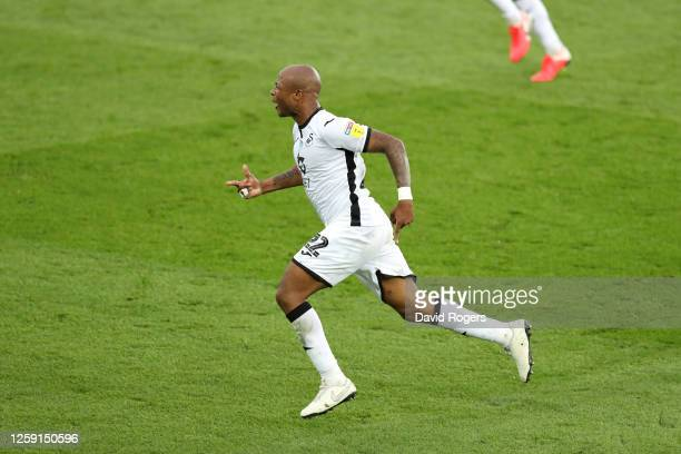 Andre Ayew of Swansea City celebrates after scoring his team's first goal during the Sky Bet Championship Play Off Semifinal 1st Leg match between...