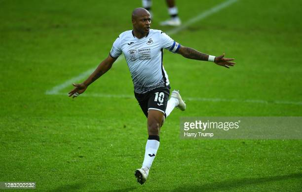 Andre Ayew of Swansea City celebrates after scoring his team's second goal during the Sky Bet Championship match between Swansea City and Blackburn...