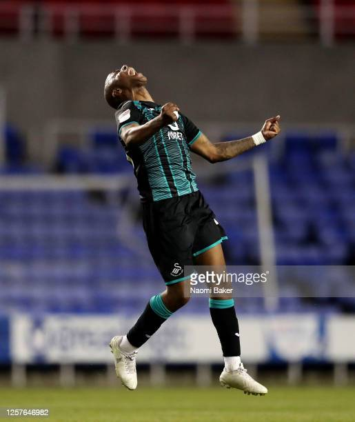Andre Ayew of Swansea City celebrates after the Sky Bet Championship match between Reading and Swansea City at Madejski Stadium on July 22 2020 in...