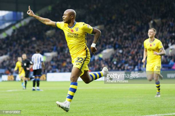 Andre Ayew of Swansea City celebrates his goal during the Sky Bet Championship match between Sheffield Wednesday and Swansea City at Hillsborough...