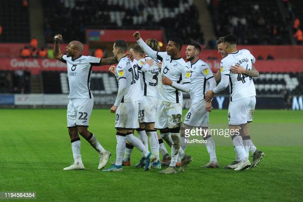 Andre Ayew of Swansea City celebrates his goal during the Sky Bet Championship match between Swansea City and Wigan Athletic at the Liberty Stadium...
