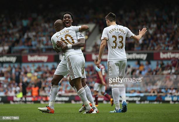 Andre Ayew of Swansea City celebrates scoring a goal during the Barclays Premier League match between West Ham United and Swansea City at the Boleyn...