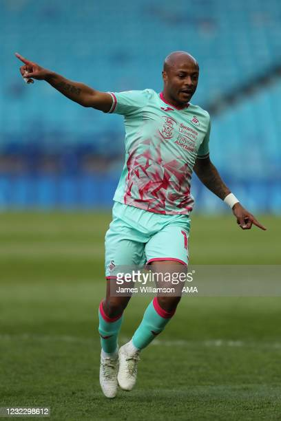 Andre Ayew of Swansea City during the Sky Bet Championship match between Sheffield Wednesday and Swansea City at Hillsborough Stadium on April 13,...