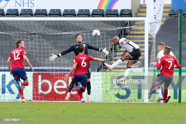 Andre Ayew of Swansea City heads towards goal during the Sky Bet Championship match between Swansea City and Huddersfield Town at Liberty Stadium on...