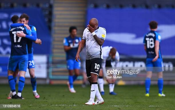 Andre Ayew of Swansea City looks dejected following their side's defeat in the Sky Bet Championship match between Swansea City and Preston North End...