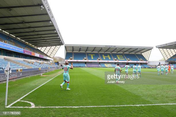 Andre Ayew of Swansea City reacts as he walks out onto the pitch during the Sky Bet Championship match between Millwall and Swansea City at The Den...