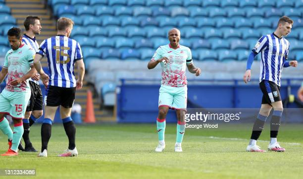 Andre Ayew of Swansea City reacts to a missed chance at goal during the Sky Bet Championship match between Sheffield Wednesday and Swansea City at...