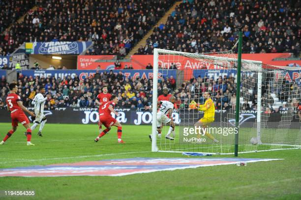 Andre Ayew of Swansea City scores a goal during the Sky Bet Championship match between Swansea City and Wigan Athletic at the Liberty Stadium on...