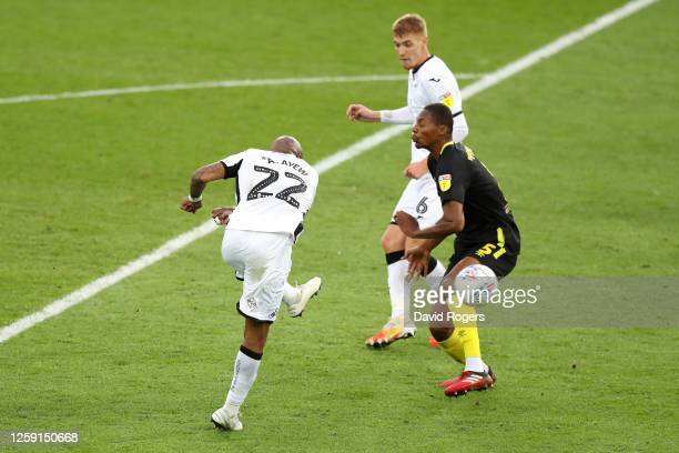 Andre Ayew of Swansea City scores his team's first goal during the Sky Bet Championship Play Off Semifinal 1st Leg match between Swansea City and...