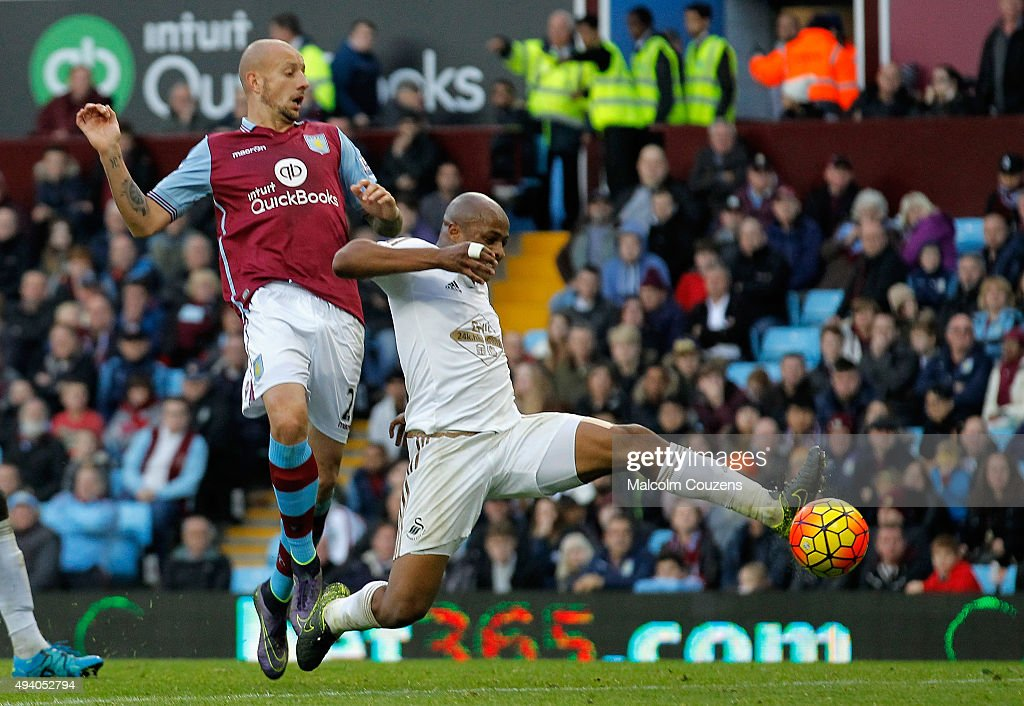 Andre Ayew of Swansea City scores his team's second goal during the Barclays Premier League match between Aston Villa and Swansea City at Villa Park on October 24, 2015 in Birmingham, England.
