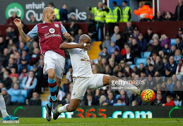 Andre Ayew of Swansea City scores his team's second goal during the Barclays Premier League match between Aston Villa and Swansea City at Villa Park...