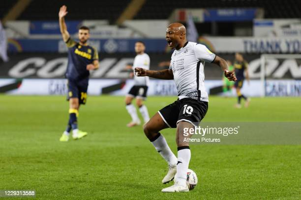 Andre Ayew of Swansea City vents his frustration during the Sky Bet Championship between Swansea City and Stoke City at the Liberty Stadium on...